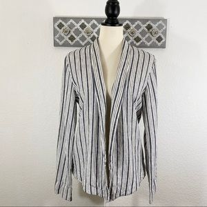 Sanctuary Linen Jacket Open Front Blue Stripe, M